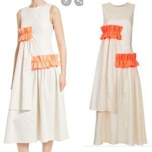 Paskal milk and fluro orange frill applique dress